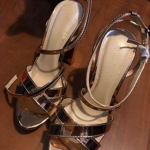 strappy metallic heels NWOT